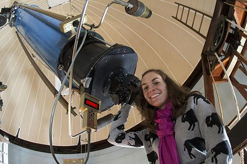 Cahterine Zucker with high resolution astronomy telescope