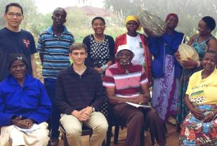 Student Cameron Haddad poses with a group of South Africans